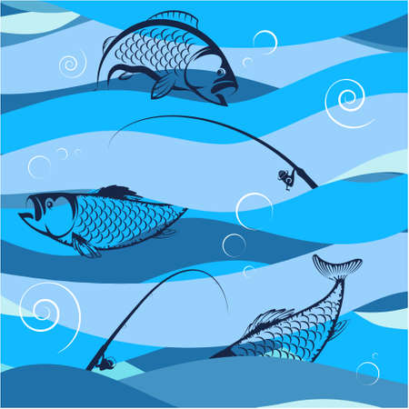 Fish and rods on blue waves design for fishing