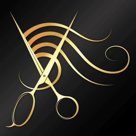 Gold scissors and curl hair design for beauty salon
