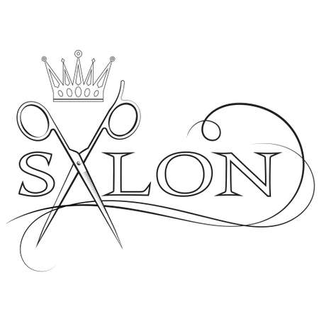Scissors and crown symbol for beauty salon
