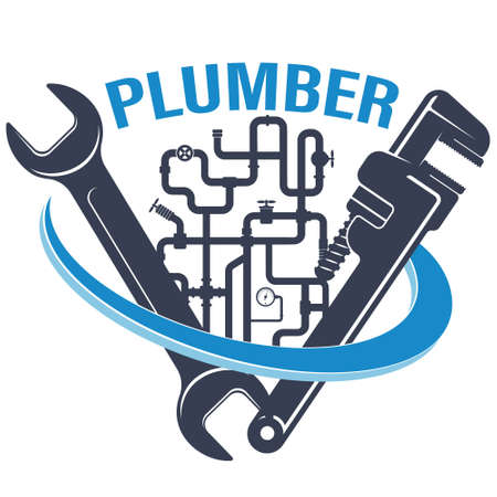 Wrenches and water pipes plumbing repair