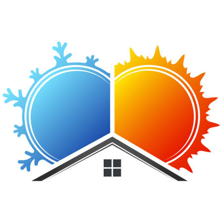 Heating sun cooling snowflake blowing home symbol for business Vektoros illusztráció