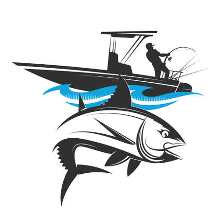 Motor boat with fishing rods and spinning on the wave symbol