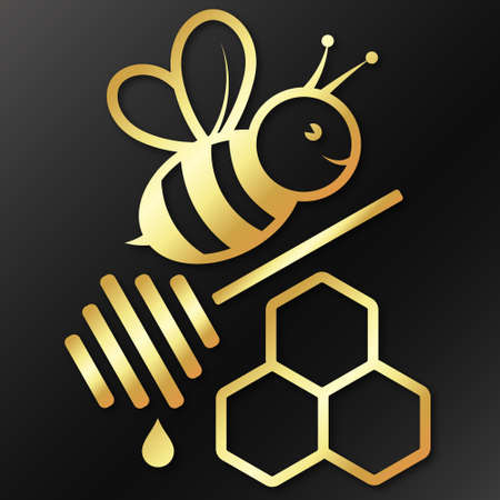 Bee and honeycomb golden symbol