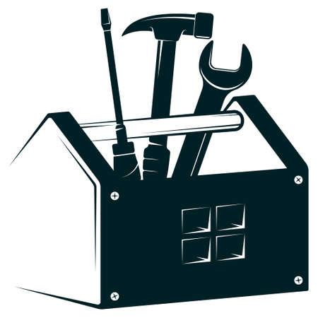 Box with a tool to repair handyman 向量圖像