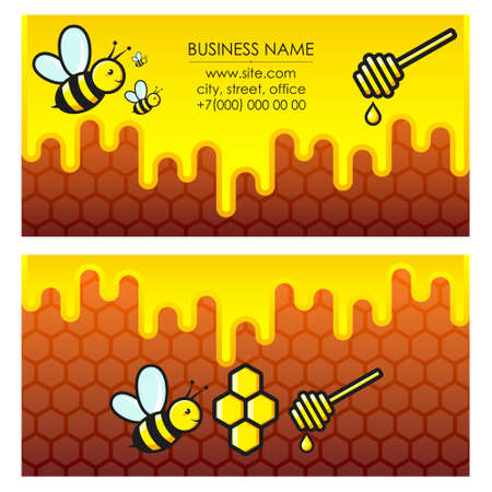 Bees and honey business card 向量圖像