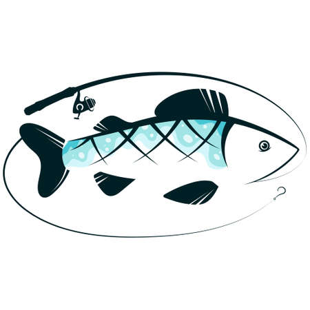 Fish and fishing rod symbol 向量圖像