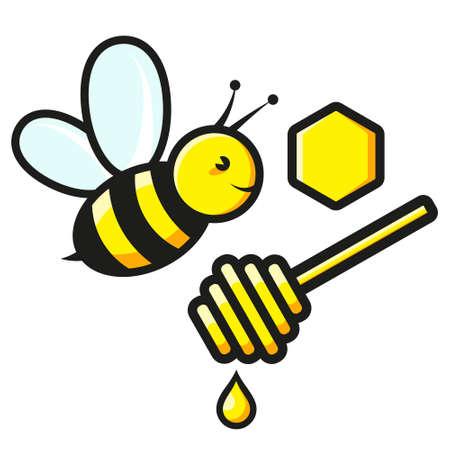 Bee and honey honeycomb symbol
