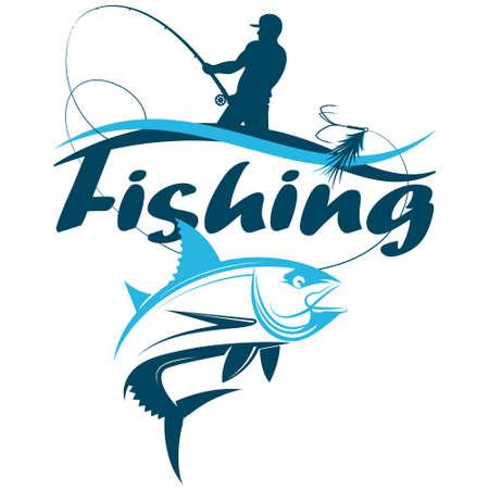 Fisherman catching a fishing rod tuna silhouette