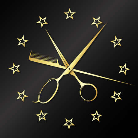 Beauty salon symbol in the form of a clock
