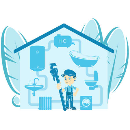 Plumber with wrench and house