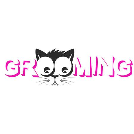 Pet grooming cat muzzle silhouette