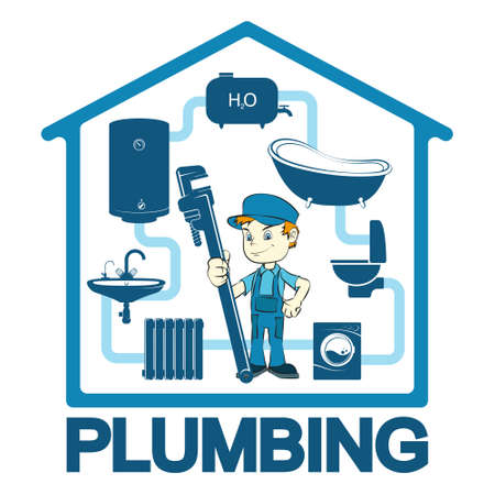 Plumber with wrench in hand at home