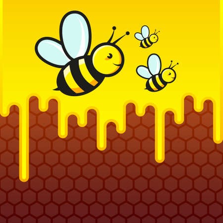 Bees are flying against the background of honeycombs 向量圖像