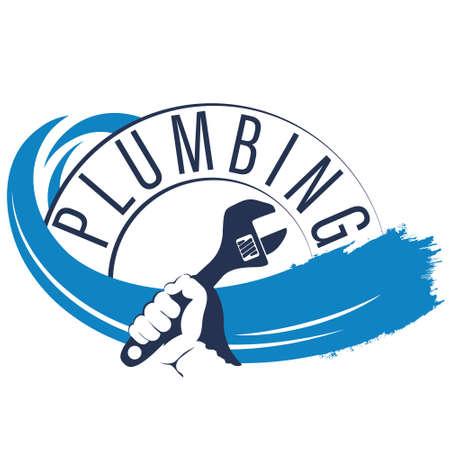 Plumbing repair symbol wrench in hand