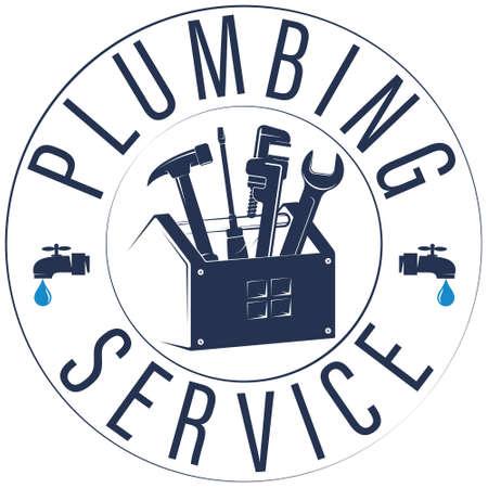 Plumbing service symbol with tool box 向量圖像
