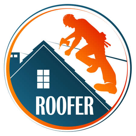 Roofer with tool on roof symbol 向量圖像
