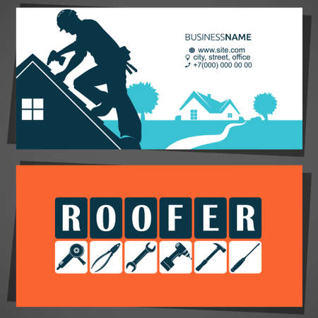 Roofer with tool on the roof business card 向量圖像