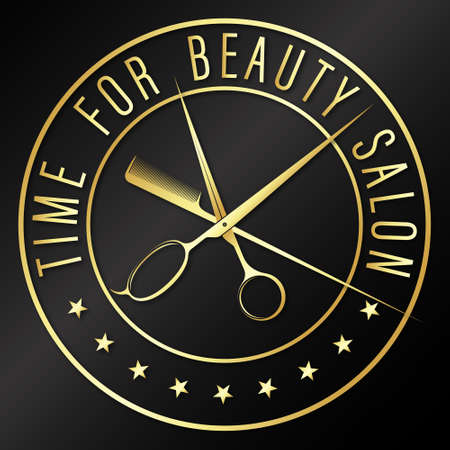 Time for beauty salon and barber design 向量圖像