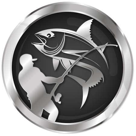 Tuna and fisherman with fishing rod symbol