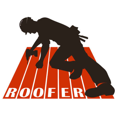 Roofer with tool on roof silhouette