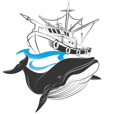 Whaling ship on waves and whale 向量圖像