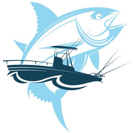 Tuna and fishing boat