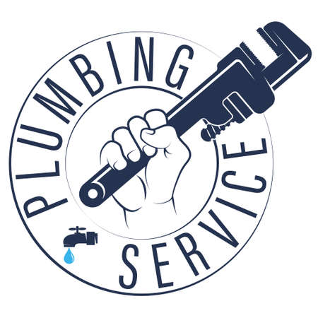 Wrench in hand plumbing symbol