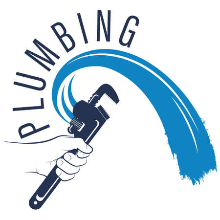 Wrench in plumbing hand and water symbol