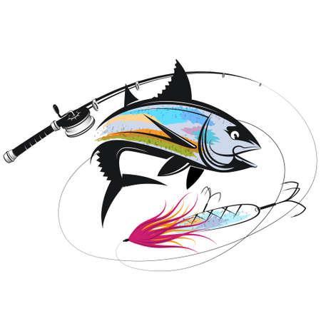 Tuna fishing rod and bait silhouette
