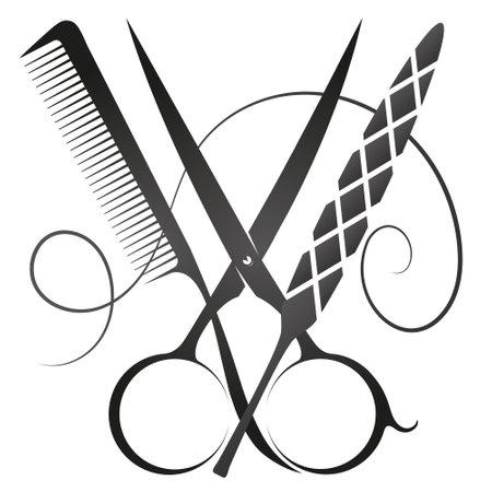Scissors comb and nail file symbol