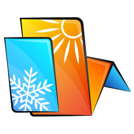 Air conditioner abstract symbol sun and snowflake