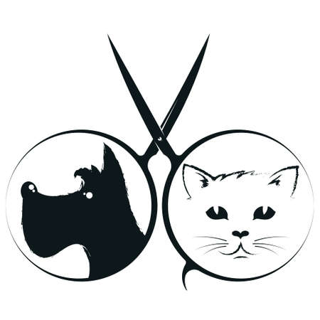 Scissors and dogs with cat grooming pets 向量圖像