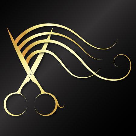 Scissors elegant gold and a lock of hair