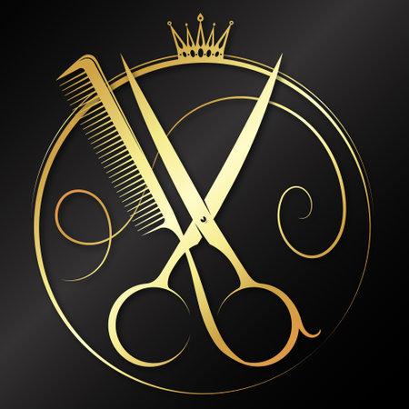 Golden scissors and comb graceful symbol 向量圖像