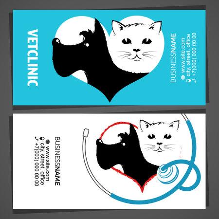 Veterinarian treatment pet business cards