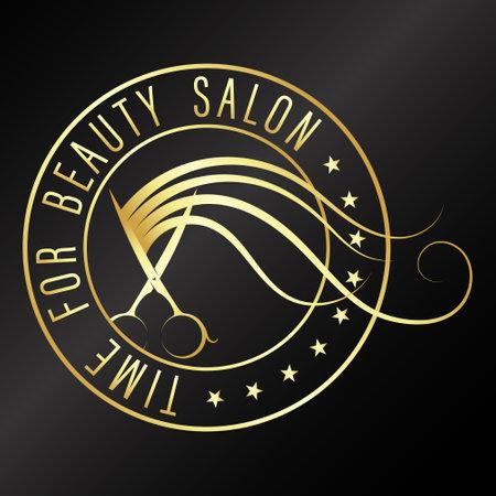 Hair stylist scissors and hair curl golden symbol