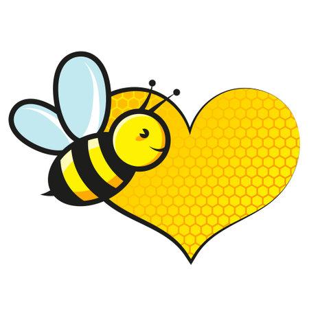 Sweet bee flies and honeycomb heart