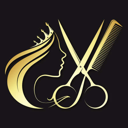 Golden beautiful profile girl with crown and scissors