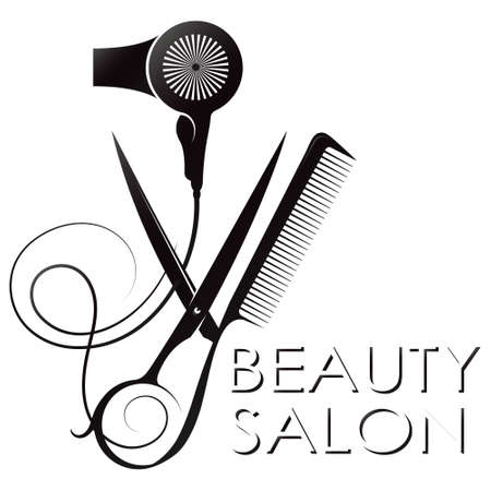 Scissors and comb with hairdryer symbol for beauty salon