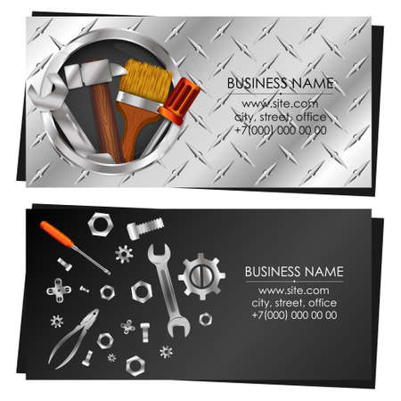 Business card with tool for repair and service