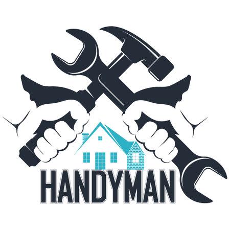 Wrench and hammer handyman symbol 向量圖像