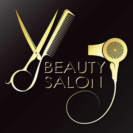 Hair stylist symbol with scissors and comb