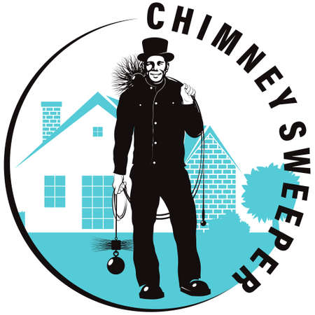 Chimney sweep with tool on background of house symbol
