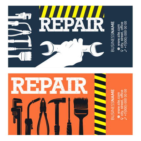Repair and service business card for handyman 向量圖像
