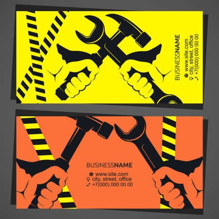Wrench in hand repair business card 向量圖像
