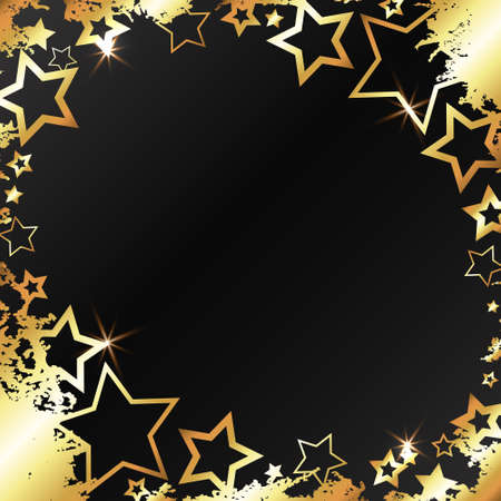 Gold patterns and stars on a black background abstract 向量圖像
