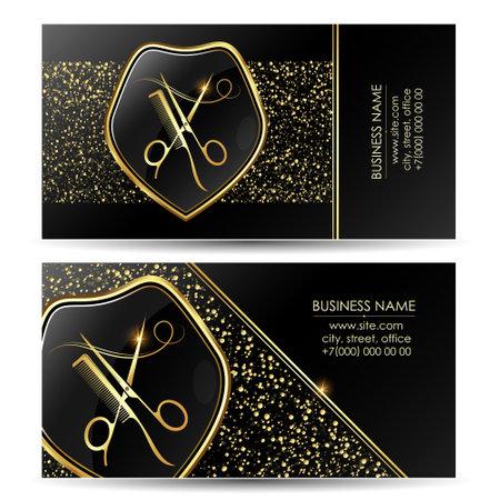 Beauty salon business card golden black scissors and comb