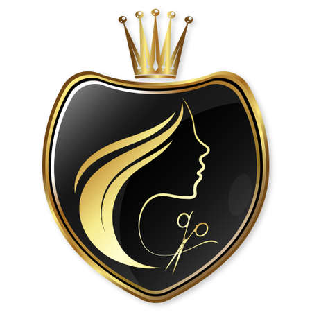 Girl face silhouette with crown beauty salon 向量圖像