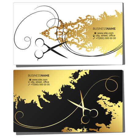 Beauty salon and stylist hairstyles business card golden design