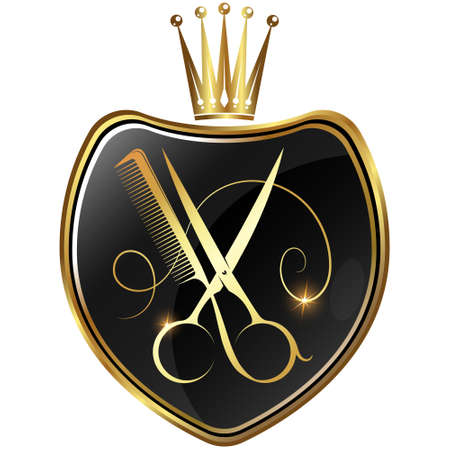 Golden scissors and comb on shield symbol for beauty salon
